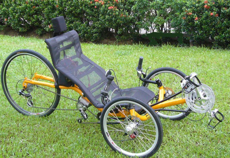 Eclectic bikes cyclone recumbent for Recumbent bike with electric motor