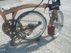 nano Brompton in Copper with wood mudguards and leather trim