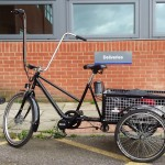 Pashley Pronto cargo trike - with 'Ape Hangers' The Mojo needed longer cables for speed sensor, brake and throttle all on one hand.
